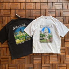 BALENCIAGA Short sleeve T SHIRT  巴里教堂印花T恤